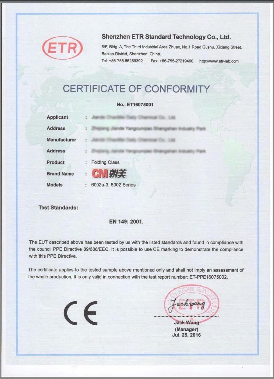 légzésvédelmi maszk CE tanusítvány